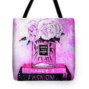 Chanel Perfume With Peony Tote Bag