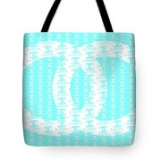 Chanel Logo Blue Teal White Tote Bag