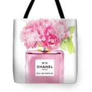 Chanel N5 Pink With Flowers Tote Bag