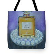 Chanel No 5 With Pearls Painting Tote Bag