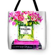Chanel Nr 5 Flowers With  Perfume Tote Bag