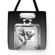 Chanel Perfume Black Flower Tote Bag