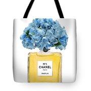 Chanel Perfume Nr 5 With Blue Hydragenias  Tote Bag