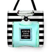 Chanel Perfume Turquoise Chanel Poster Chanel Print Tote Bag