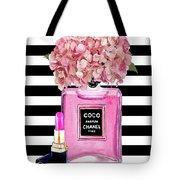 Chanel Poster Pink Perfume Hydrangea Print Tote Bag