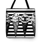 Chanel Print, Ice Cream On Stripes Tote Bag