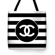 Chanel - Stripe Pattern - Black And White 2 - Fashion And Lifestyle Tote Bag