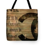 Chanel Wood Panel Rustic Quote Tote Bag