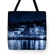 Chania By Night In Blue Tote Bag