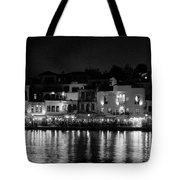 Chania By Night In Bw Tote Bag