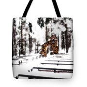 Chapel Of The Woods In A Snowy Glow Tote Bag