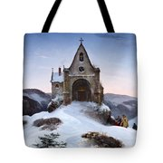 Chapel On A Mountain In Winter Tote Bag