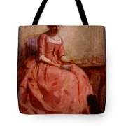 Chaplin Charles Girl In A Pink Dress Reading With A Dog Tote Bag