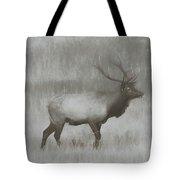 Charcoal Bull Elk In Field Tote Bag