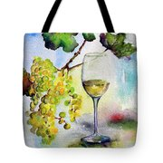 Chardonnay Wine Glass And Grapes Tote Bag