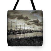 Charleston Marina Sunset In Sepia Tote Bag