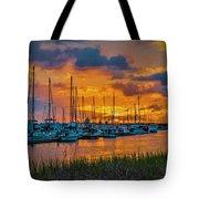 Charleston Marina Sunset  Tote Bag
