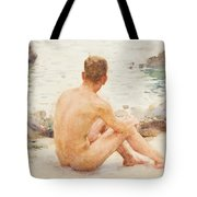Charlie Seated On The Sand Tote Bag