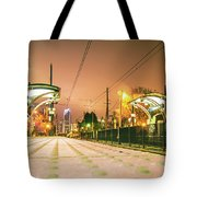 Charlotte City Skyline Night Scene With Light Rail System Lynx T Tote Bag