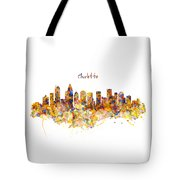 Charlotte Watercolor Skyline Tote Bag