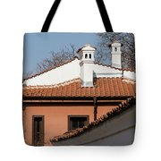 Charming Chimneys - White Stucco And Terracotta Juxtaposition Tote Bag