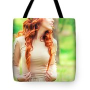 Charming Young Woman In The Forest Tote Bag