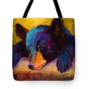 Chasing Bugs - Black Bear Cub Tote Bag