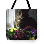 Chat Et Fleurs Tote Bag