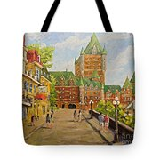 Chateau Frontenac Promenade Quebec City By Prankearts Tote Bag