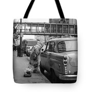Chatting Up A Cabby On 7th Street Tote Bag by Mike Evangelist