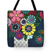 Checkered Bouquet Tote Bag