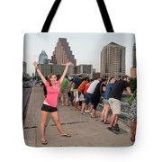 Cheerful Attractive Female Austinite Waves Her Hands With Excitement On Seeing The Austin Bats Tote Bag