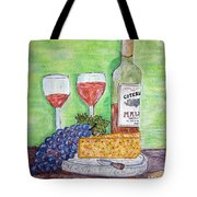 Cheese Wine And Grapes Tote Bag