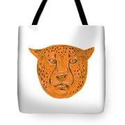 Cheetah Head Drawing Tote Bag