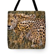 Cheetah In The Grass Tote Bag