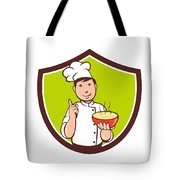 Chef Cook Bowl Pointing Crest Cartoon Tote Bag