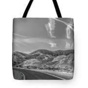 Chem Trails Over Valley Of Fire Black White  Tote Bag