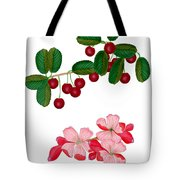 Cherries And Cherry Blossoms Tote Bag
