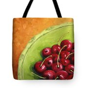 Cherries Green Plate Tote Bag