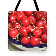 Cherries In A Bowl Close-up Tote Bag