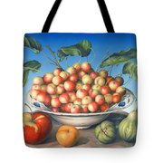 Cherries In Delft Bowl With Red And Yellow Apple Tote Bag