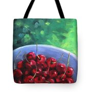 Cherries On A Blue Plate Tote Bag