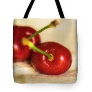 Cherries On White Tote Bag