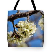 Pear Blossom And Bee Tote Bag