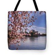 Cherry Blossom Over Tidal Basin Tote Bag