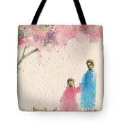Cherry Blossom Tree Over The Bridge Tote Bag