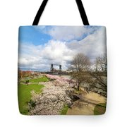 Cherry Blossom Trees At Portland Waterfront Tote Bag