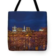 Cherry Blossom Trees At Portland Waterfront During Blue Hour Tote Bag