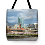 Cherry Blossom Trees At Portland Waterfront Park Tote Bag