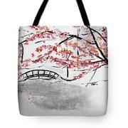 Cherry Blossoms And Bridge II Meadowlark Botanic Gardens 201729  Tote Bag